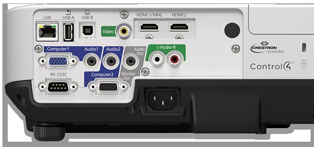 Epson EB-2155W 5000 Lumen WXGA Portable Multimedia 3LCD Projector - back view