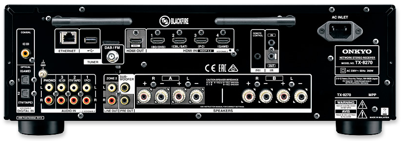 Onkyo TX-8270 Multi-Zone Network Stereo Receiver - rear