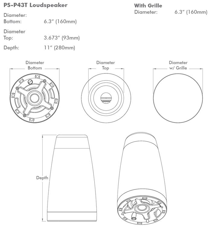Sonance Ps P43t 4 Quot 70 100v Pendant Ceiling Speakers Av