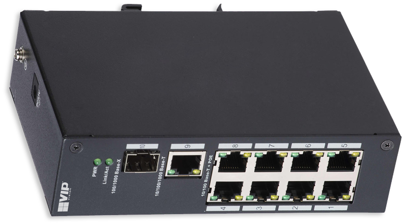 VIP Vision 8-Port Unmanaged PoE+ Switch with 1 SFP & 1 Gigabit Port